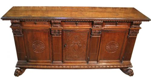 An Early 18th Century Tuscan Baroque Walnut Credenza No. 4019