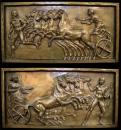 "A Pair of Signed 19th Century  French ""Grand Tour"" High Relief Gilt-Bronze Wall Plaques"