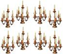 A Set of Eight Tuscan PolychromeGiltwood and Wrought Iron Girandoles