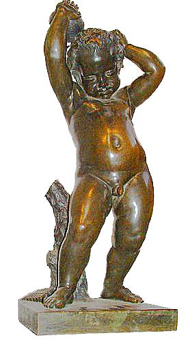 A Playful 19th Century Bronze Bacchant Putto Wearing a Grapevine Wreath on His Head