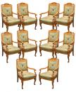 A Set of Ten French Charles X Beechwood Arm Chairs