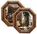 A Remarkable Pair of 18th c. Octagonal Italian Transitional Baroque to Rococo Tortoiseshell Mirrors