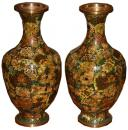 A Pair of Vintage Chinese Enamel and Copper Cloisonné Vases
