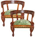 A Rare Pair of 19th Century Italian Neoclassical Rosewood Marquise Chairs