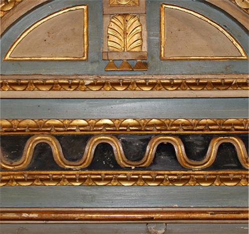 An Understated 18th Century Italian Neoclassical Parcel Gilt and Polychrome Domed Pediment Mirror