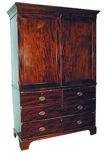 A Fine 19th Century English Mahogany Linen Press No. 1022