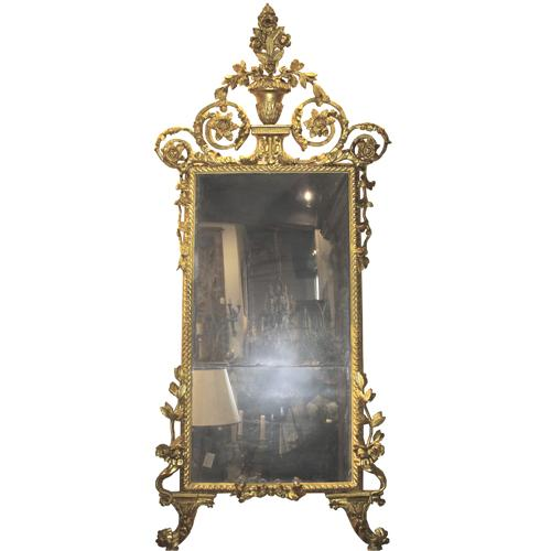 A Sophisticated 18th Century Italian Luccan Carved Giltwood Mirror