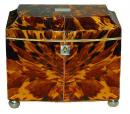 A Sophisticated 19th Century Regency Bow Front Blonde Tortoiseshell Tea Caddy