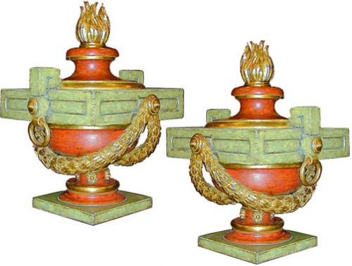 A Pair of Italian Neoclassical Polychrome and Parcel Gilt Urns