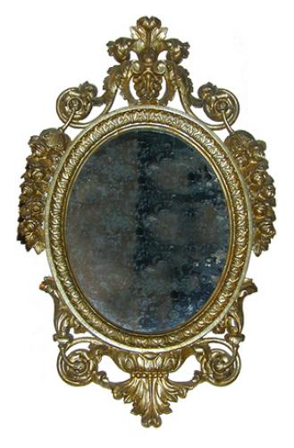 An Oval 19th Century Italian Silver Gilt Mirror