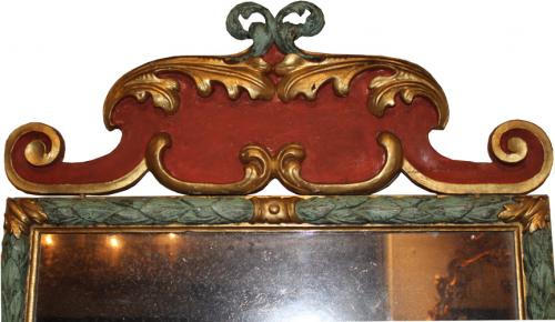 An Exquisite 18th Century Italian Polychrome & Gilt Mirror