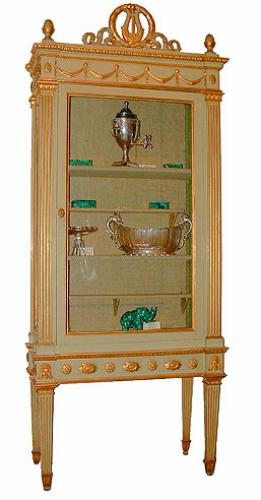 A Stately 18th Century Parcel Gilt and Polychrome Italian Louis XVI Vitrine No. 2413
