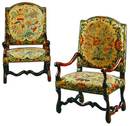 An Exquisite Pair of 18th Century Italian Louis XIV Walnut Fauteuils